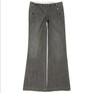 Theory Grey Denim Jeans Nautical Button Wide Leg
